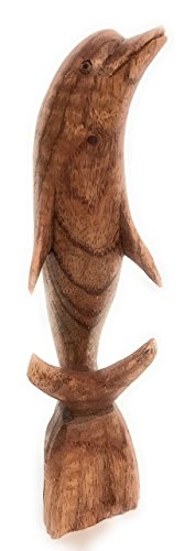TikiMaster Carved Dolphin Jumping 8'' Stained - Hand Carved | #dag0120 by TikiMaster