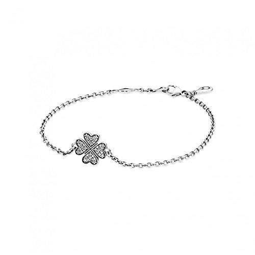 Pandora , Braccialetto a forma di quadrifoglio argento 925 con zirconi  bianco 590506 CZ, Argento