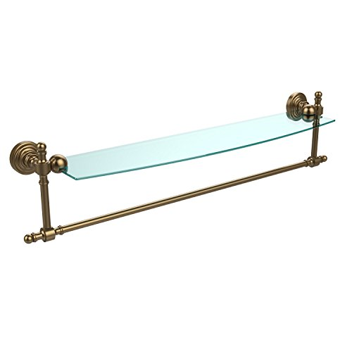 Allied Brass RW-33TB/24-BBR Retro Wave Collection 24 Inch Glass Vanity Shelf with Integrated Towel Bar, Brushed Bronze