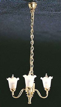 3 Arm Tulip - Dollhouse Miniature &mh734: 3 Up-arm Tulip Shade Chandelier
