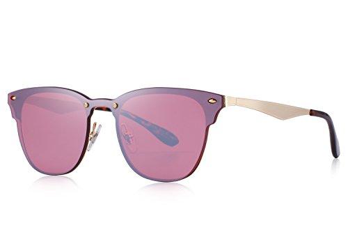 MERRYS Men/Women Classic Retro Rivet Sunglasses 100% UV Protection S8208 Red
