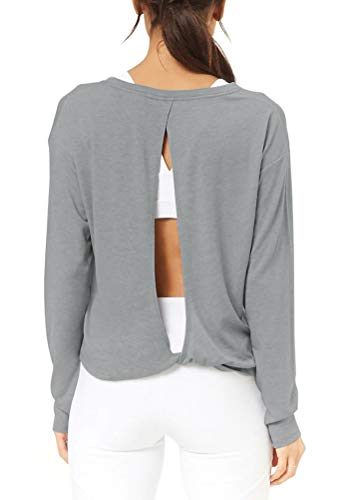 Mippo Women's Activewear Workout Tops Long Sleeve Boat Neck T Shirt Open Back Shirts Solid Color Lightweight Cotton Tops for Junior Heather Gray M ()
