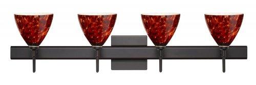 Besa Lighting 4SW-177941-BR-SQ 4X40W G9 Mia Wall Sconce with Canopy Garnet Glass, Bronze Finish