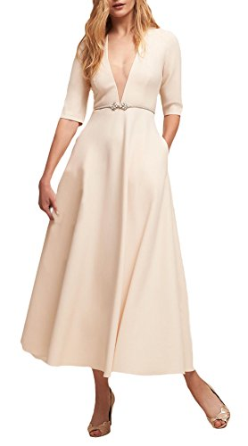 Damen Abendkleider Lang Elegant Halbe Hülse Tiefem V-Ausschnitt Einfarbig A-Linie Swing Cocktailkleid Abiballkleid Partykleider mit Taschen Weiß mnJNqaw