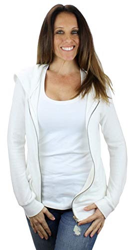 Ms Lovely Women's Ultra Soft Zip-Up Hooded Sweatshirt Cute Comfy Fitted Lounge Hoodie - White Small