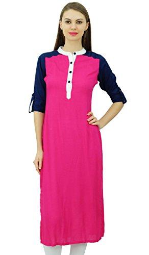 Phagun India étnicas Rayón Punjabi Kurti para las señoras Collar del mandarín informal túnica de la blusa Rosado
