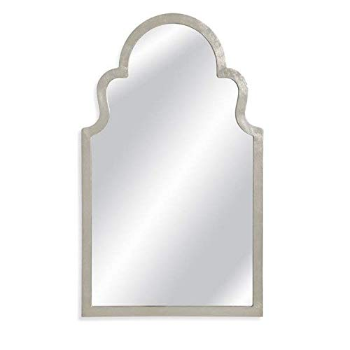 (Arch Top Framed Wood Silver Leaf Vertical Wall Mirror + Free Basic Design Concepts Expert Guide)
