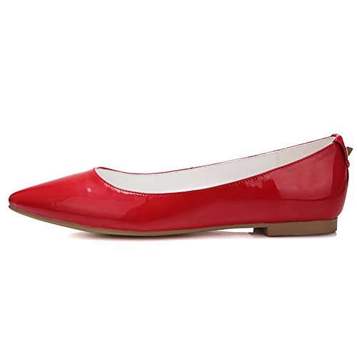 VogueZone009 Women's Pointed Closed Toe Pull On Low Heels Solid Pumps Shoes Red HLq2r1