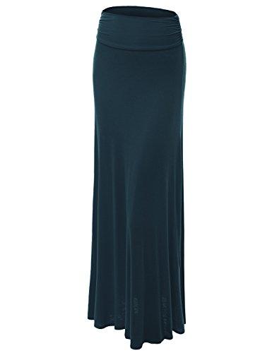 Made By Johnny WB296 Womens Lightweight Floor Length Maxi Skirt XXXL Teal