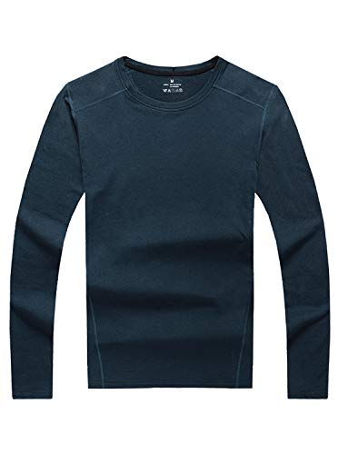 GEEK LIGHTING Thermal Underwear Top Base Layer Soft Lightweight Warm Fleece(Navy, Large)