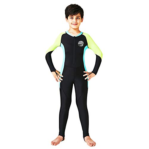 (Scubadonkey 0.5 mm Lycra Full Body Quick Dry Wetsuit for Boys and Girls | UPF 50+ UV Protection | for Scuba Diving Surfing Fishing Kayaking Swimming (Black/Sky Blue, 8))