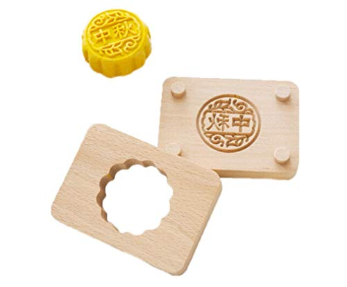 (JKLcom Wooden Moon Cake Mold Chinese Traditional Mid-autumn Festival Double-Layer Mooncake Mold Wooden Handmade Baking Mold for Muffin Soap Cake Cookie Biscuit Chocolate Pumpkin Pie(Zhongqiu))