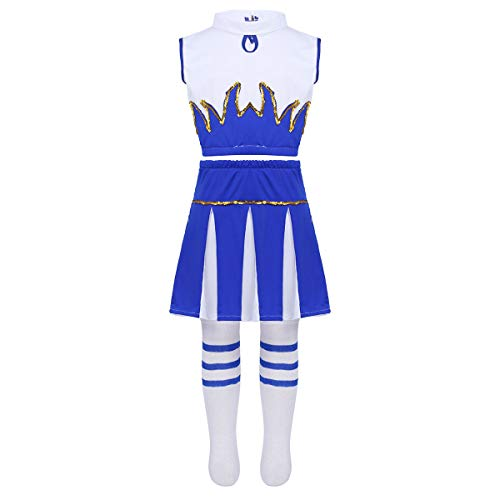 FEESHOW High School Girls Cheer Leader Costume Uniform Cheerleading Outfit Shell Top with Pleated Skirt Knee Socks Set Flame Blue 7-8