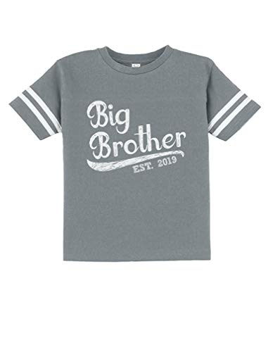 (Tstars - Gift for Big Brother 2019 Siblings Gift Toddler Jersey T-Shirt 4T Gray)
