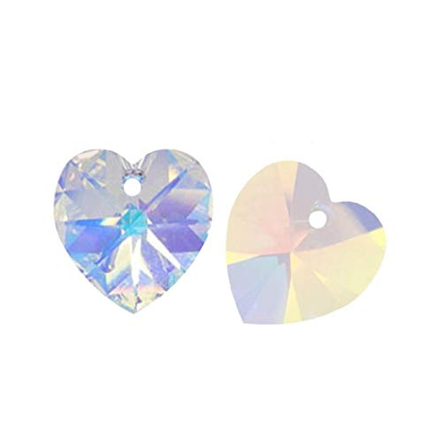 Swarovski Crystal 10mm Hearts Charms - 20pcs Top Quality Czech Top Drilled 10mm Heart Crystal Beads #6228 Crystal AB for Earrings Bracelet Necklace Anklet Charm Keychain Jewelry Making CCH1002