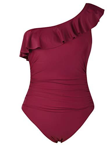 Hilor Women's One Piece Swimsuits One Shoulder Swimwear Asymmetric Ruffle Monokinis Bathing Suits Red 8