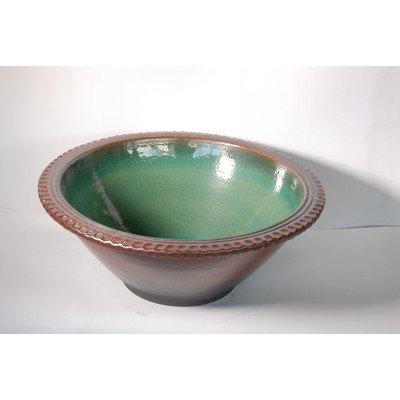 風の水琴工房 鉄赤緑風水鉢 18号 - 信楽焼 B07786R1P3