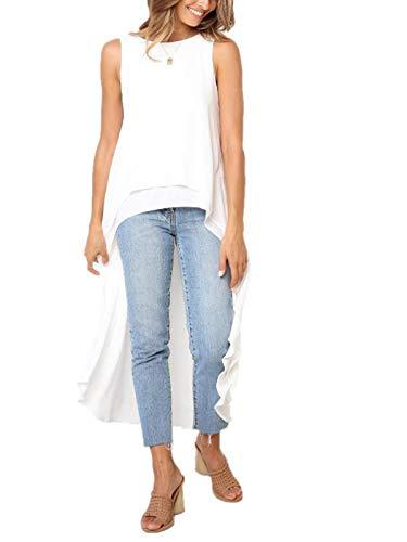 (Stylelachic Women's Sleeveless High Low Asymmetrical Irregular Hem Tops Round Neck Casual Blouse Shirt Dress - White L)