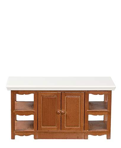 Melody Jane Dolls Houses House Miniature 1:12 Scale Wooden Kitchen Furniture Walnut Island Unit