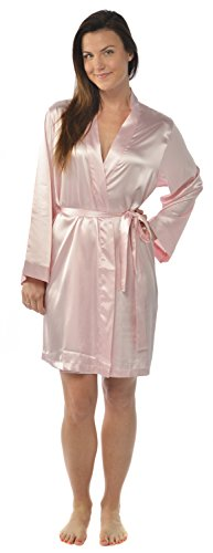 Leisureland Women's Kimono Satin Robe, Solid Color Dressing Gown, Knee Length Pink XXL/XXXL (Charmeuse Dress Kimono)