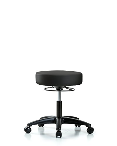(Adjustable Stool for Exam Rooms, Labs, and Dentists with Wheels - Desk Height, Black)