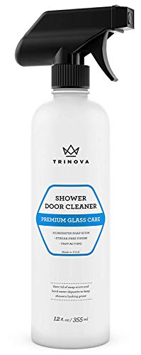 Shower Door Cleaner Removes Soap Scum Mildew and Mold from Glass to Get a Crystal Streakless Shine. 12oz TriNova