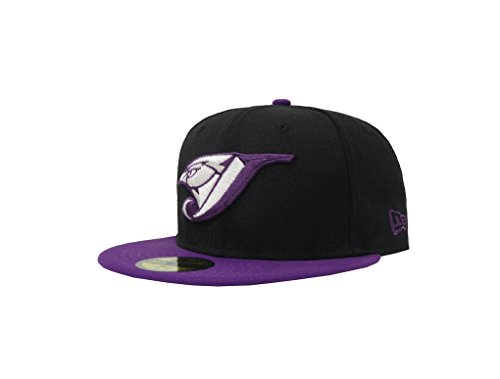 (New Era 59Fifty Hat Toronto Blue Jays MLB Basic Game Bird Fitted Black/Purple Cap (7 1/4))