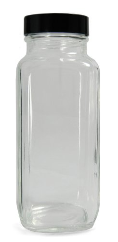 - Qorpak GLC-01320 Clear Glass French Square Bottle with 33-400 Black Phenolic Polyseal Cone Lined Cap, 45mm OD x 112mm Height, 4oz Capacity (Case of 24)