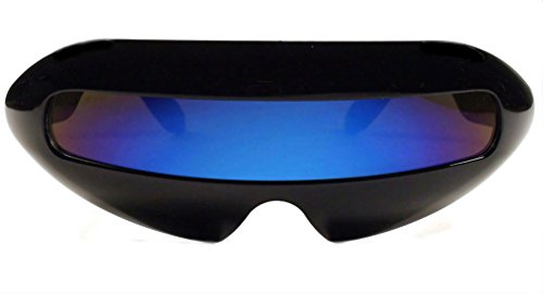 [Futuristic Cyclops Mirror Single Lens Oval Sunglasses (Deep Blue Lens)] (Mens Alien Costume)