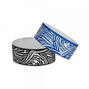1'' Black & White Zebra Print Tyvek Wristbands Paper-like