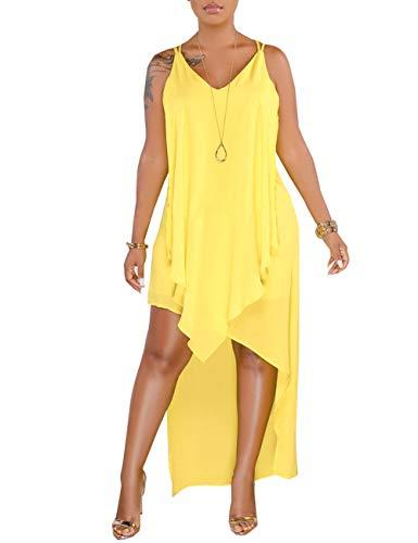 (YouSexy Women's Casual Chiffon Dress Flowy Asymmetrical High Low Tank Dress for Summer)