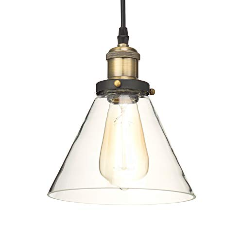 Home Luminaire 31678 Almanor 1-Light Clear Glass Industrial Pendant with 3 ft. Cord Antique Brass/Bronze Finish