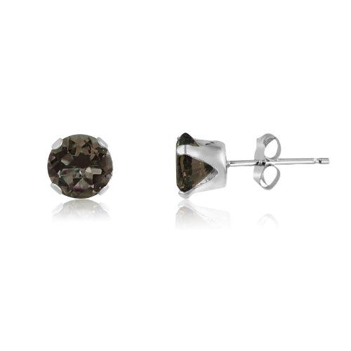 Round 6mm Sterling Silver Genuine Smokey Quartz Stud Earrings, Free Gift Box included (Quartz Jewelry Silver Box Smoky)