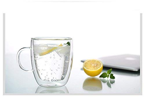 Large Premium Heat Resisting Glass Cup or Mug (Single Cup - 1 Cup) - 500 ML or 16.9 OZ (Ounces) - Double Walled Insulated Glass - Dishwasher & Microwave Safe - Clear, Unique & Insulated with Handle by B&Z Glass (Image #4)