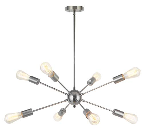 8-Light Sputnik Chandelier Modern Pendant Lighting Brushed Nickel Vintage Ceiling Light Fixture UL Listed by Vinluz