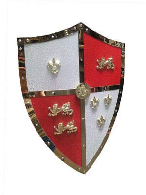 - QUALITYMUSICSHOP Halloween 24 Medieval Royal Crusader Lion Shield Armor with Handle