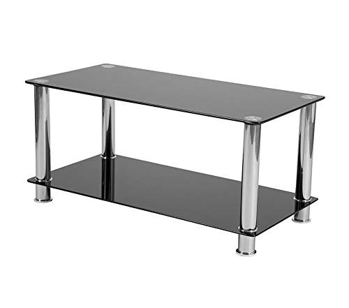 - Wood & Style Office Home Furniture Premium Riverside Collection Black Glass Coffee Table with Shelves and Stainless Steel Frame