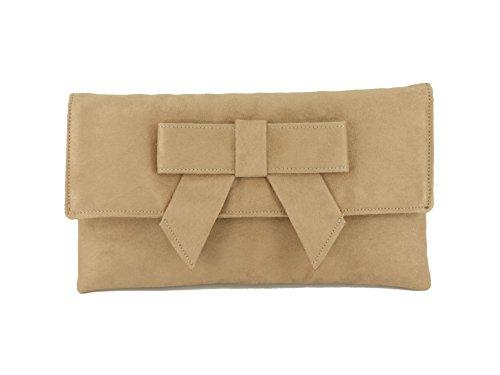 Shoulder Beige Suede Leather Cute Womens LONI bag Faux Bag Clutch Camel n0w1vaaqC