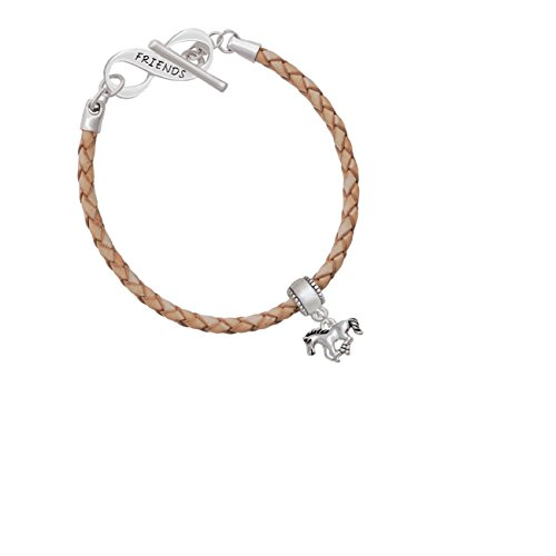 Mini Running Horse Friends Infinity Toggle Leather Bracelet
