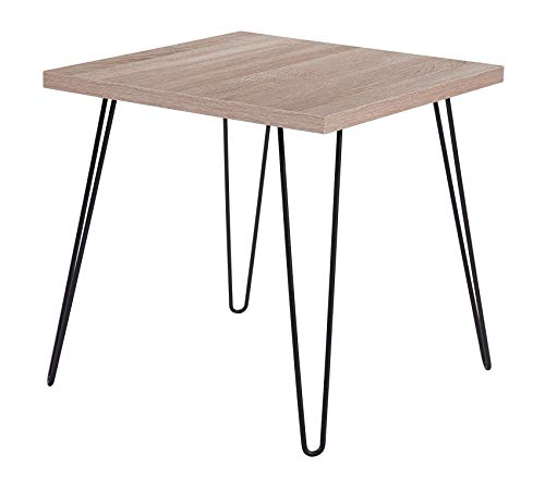 Union Square Furniture - Office Home Furniture Premium Union Square Collection Sonoma Oak Wood Grain Finish End Table with Black Metal Legs
