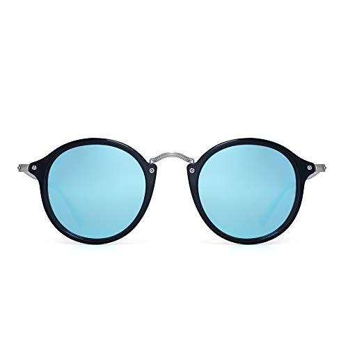 PANNER Retro Polarized Round Sunglasses Small Mirror Circle Lens for Men Women(Bright Black Frame/Polarized Mirrored Blue ()