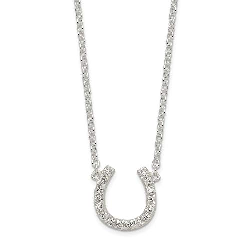 925 Sterling Silver Cubic Zirconia Cz Horseshoe 1 Inch Extension Chain Necklace Pendant Charm Good Luck/italian Horn Fine Jewelry Gifts For Women For Her