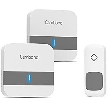 Wireless Doorbell, Cambond House Doorbell 1000ft Range 1 Battery Operated  Waterproof Door Push Button 2