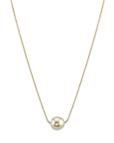 11mm South Sea Pearl Pendant (Golden Baroque Cultured Pearl Solitaire Pendant Necklace in 14K Gold)