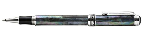 Xezo Maestro Natural Iridescent Black Mother of Pearl Platinum Plated Roller Pen. No Two Pens Alike by Xezo (Image #2)'