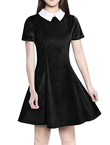 Annigo Wednesday Addams Velvet Dress Doll Collar Cocktail Dresses for Women Party,Black and White,S -