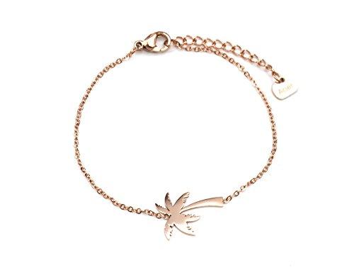 BC2226F - Bracelet Fine Chaîne avec Charm Palmier Acier Or Rose