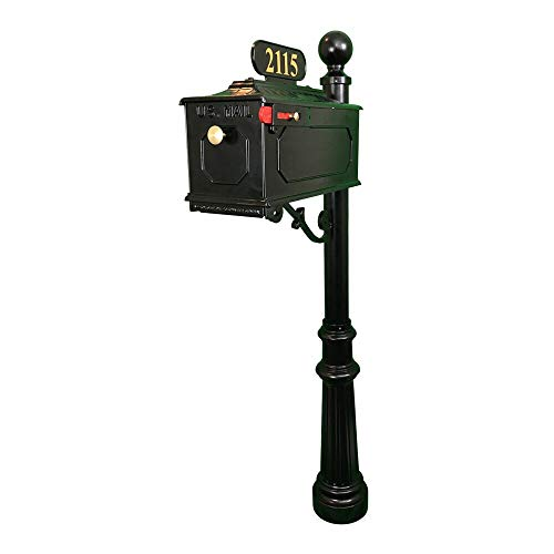 (Addresses of Distinction Jamestown Outdoor Mailbox with Post - Black Mailbox with Ball Finial - Includes Address Plaque, Custom Home Numbers, Decorative Scroll & Mounting Hardware - Fancy Post Mount)