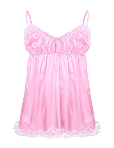 inlzdz Men's Sissy Crossdress Lingerie Ruffled Frilly Satin High Low Dress Nightwear Pajamas (X-Large, Pink&Spaghetti Straps)