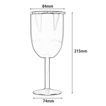 Glass Wine Goblets Stainless Steel Wine Glass Double Walled Beer Wine Glasses with Removeable Sliding Closure Lid
